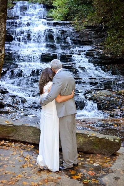Romantic waterfall wedding